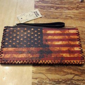 Handbags - New Leather Flag Wristlet